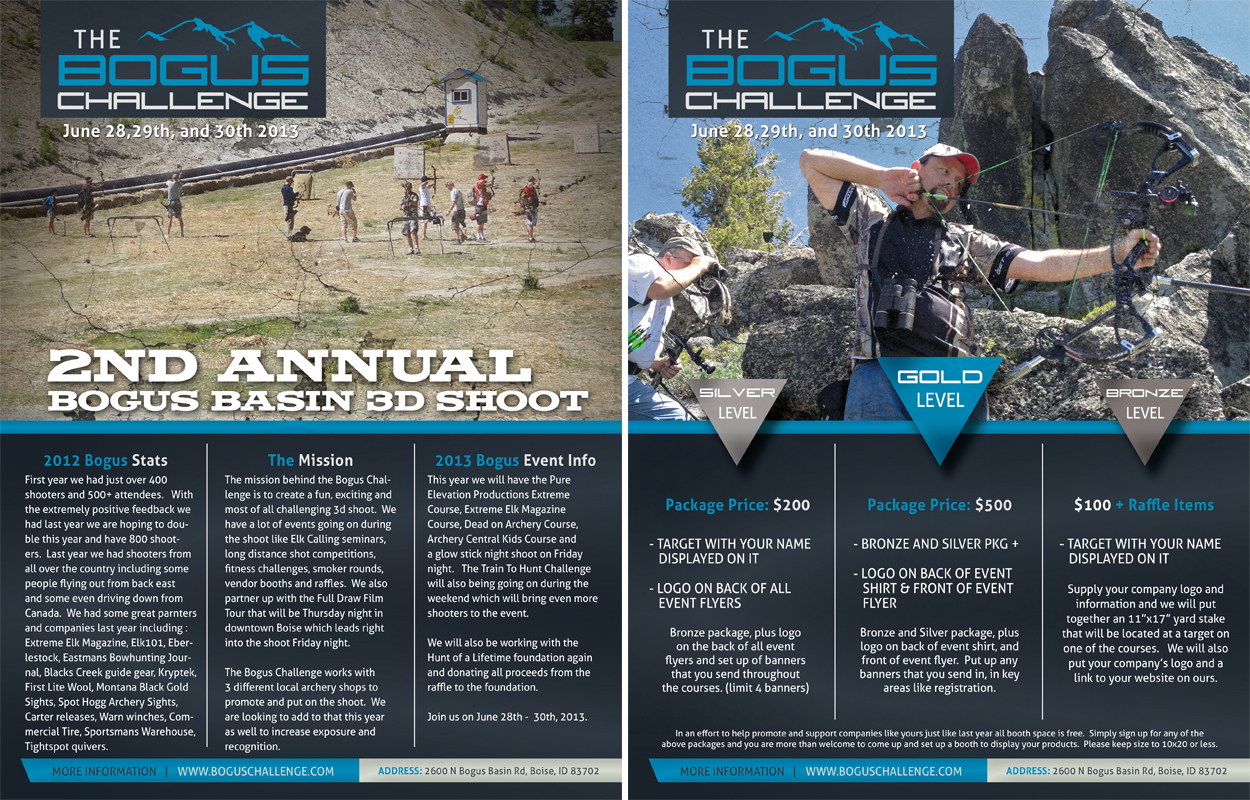 Poster design kit - Bogus Basin 3d Archery Shoot Media Kit Design