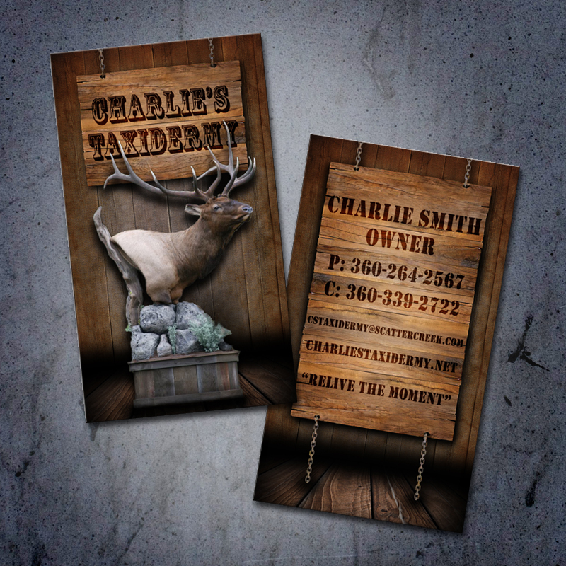 Business card design outdoor advertising and design agency custom charlies taxidermy business card display colourmoves