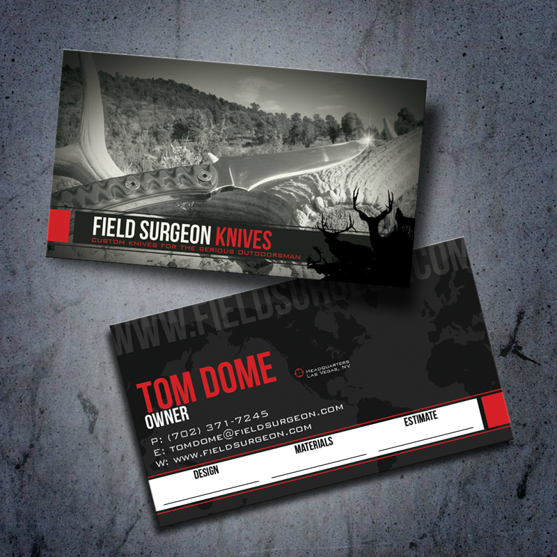 Business card design outdoor advertising and design agency custom field surgeon knives hunting business card display reheart Choice Image