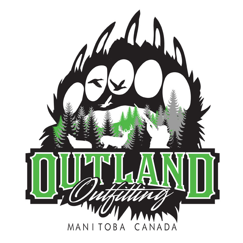 outland outfitting bear deer waterfowl hunting logo design outdoor