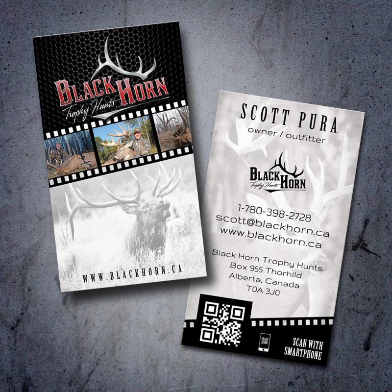 Black Horn Trophy Hunts Hunting Business Card Design