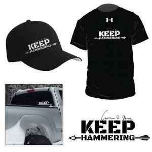Cameron Hanes Keep Hammering Hunting Slogan Logo Design Gear