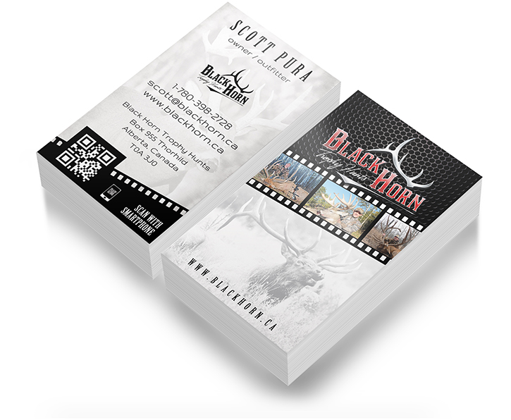 Hunting business card design outdoor advertising and design agency black horn industries outdoor hunting business card design reheart Gallery