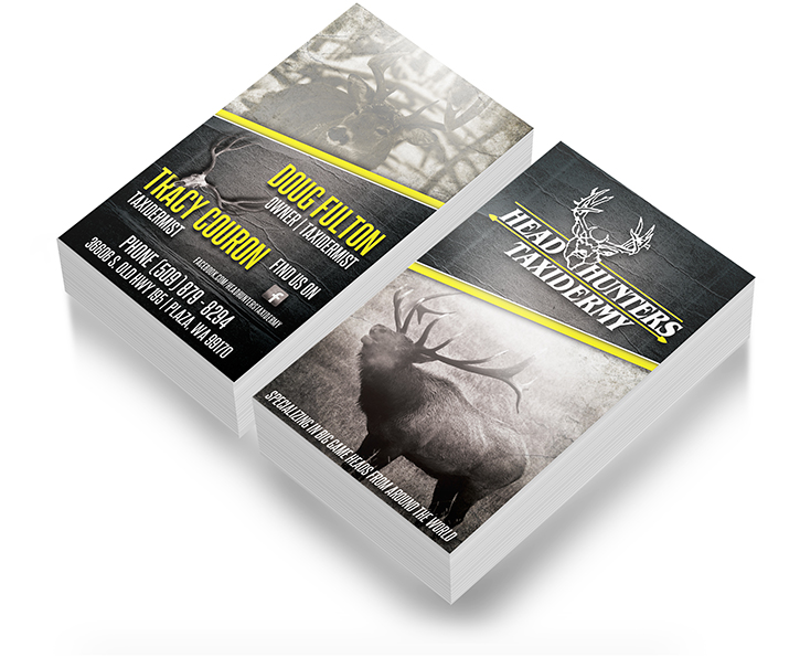 Hunting business card design outdoor advertising and design agency head hunters taxidermy elk deer business card design colourmoves